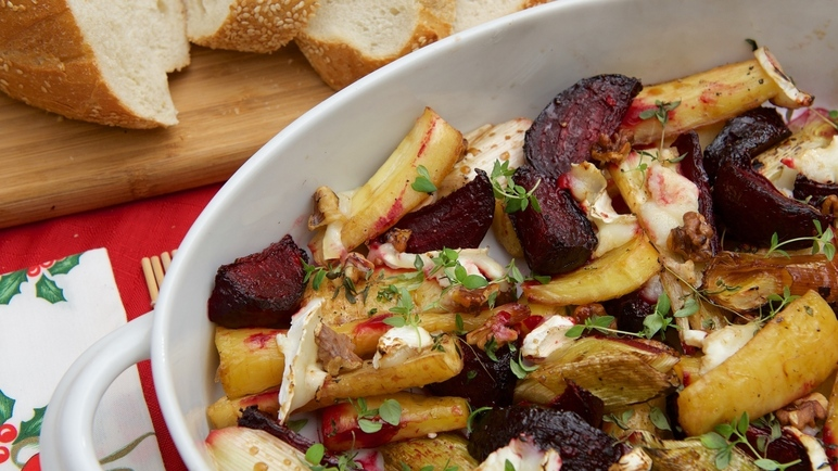 Image: Roasted beetroot, parsnip and leek with walnuts and goats cheese