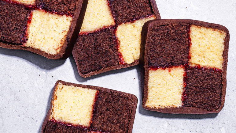 Image: Chocolate Battenberg cake