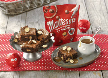 Image: Maltesers® Chocolate Fudge Brownie with Salted Caramel Sauce