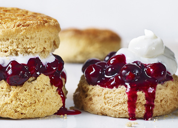 Image: Earl Grey scones with a blueberry and lemon compote