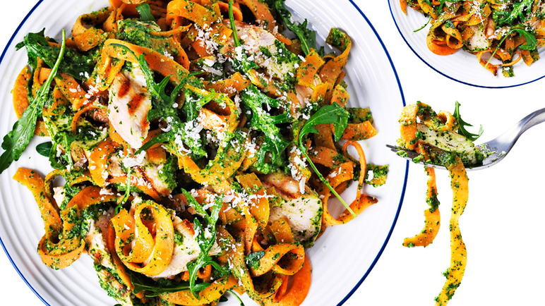 Image: Sweet potato tagliatelle with chicken and rocket pesto