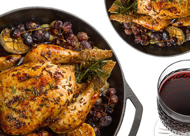 Image: Rosemary roasted chicken with roasted grapes