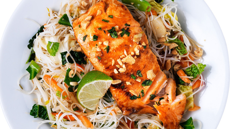 Image: Teriyaki-glazed salmon, stir-fried rice noodles and vegetables