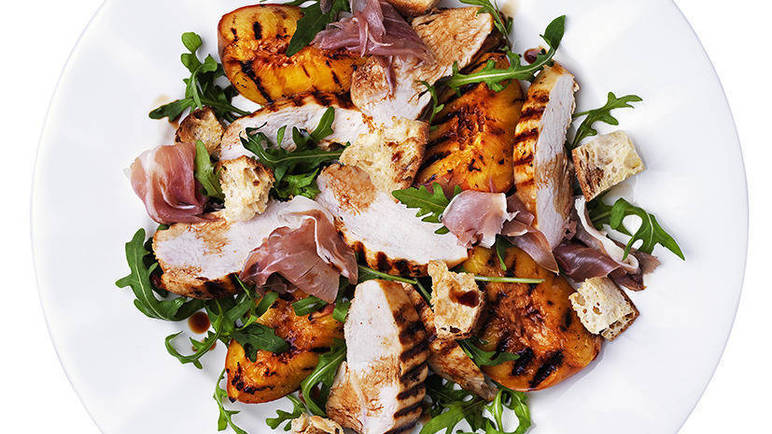 Image: Chargrilled chicken, peach and prosciutto