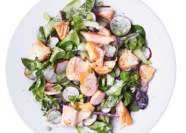 Image: Salmon, cucumber and radish salad