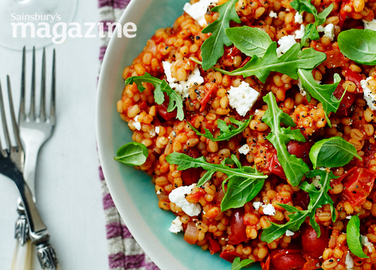 Image: Tomato and pearl barley risotto with feta