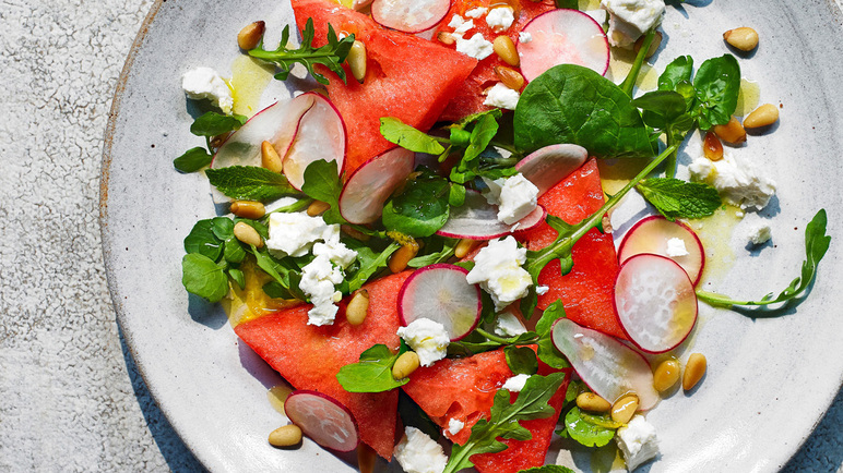 Image: Juicy watermelon, radish and feta salad