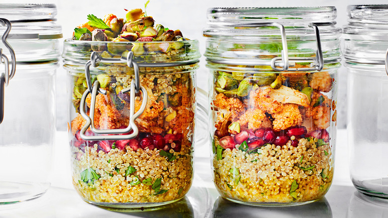 Image: Roasted cauliflower and quinoa jar salad