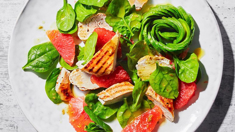 Image: Avocado rose, grapefruit and grilled chicken salad