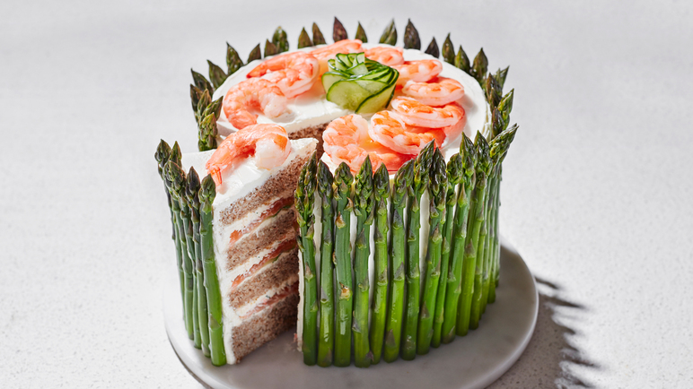 Image: Prawn and asparagus sandwich cake