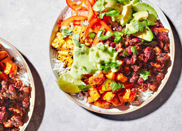 Image: Vegan burrito bowls with avocado and refried beans