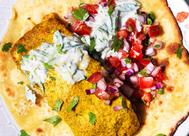 Image: Gluten-free parathas with Indian-spiced salmon