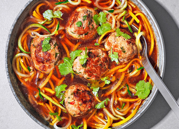 Image: Asian-style spiralized veggie noodle soup with meatballs