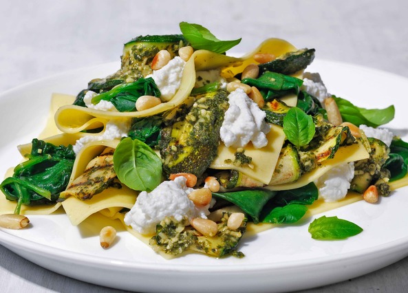 Image: Courgette, spinach and ricotta open lasagne
