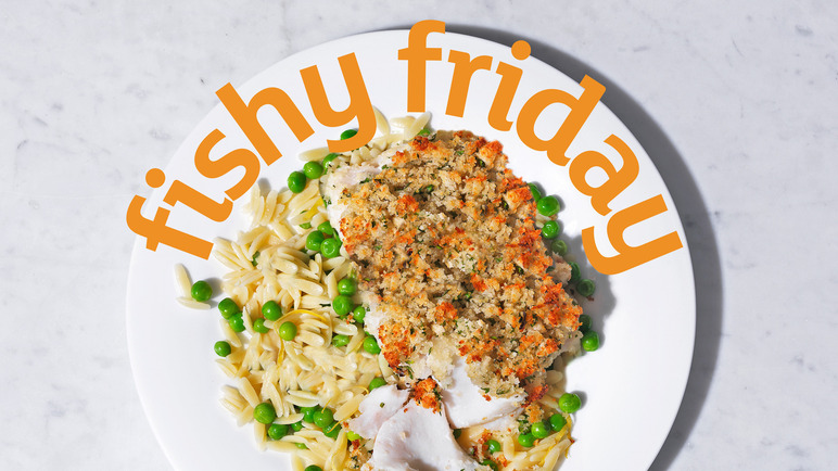 Image: Crunchy cod with lemony pea and orzo pasta