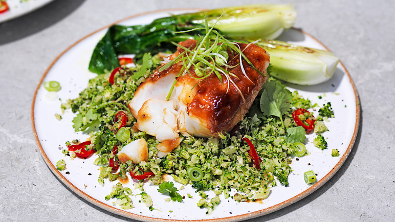 Image: Miso cod with broccoli rice