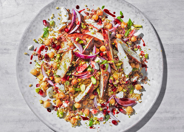 Image: Bulgur wheat salad with pomegranate molasses chicken