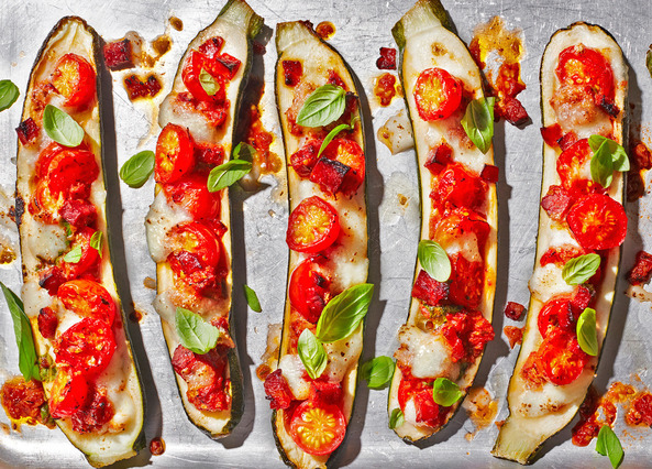 Image: Courgette pizza boats