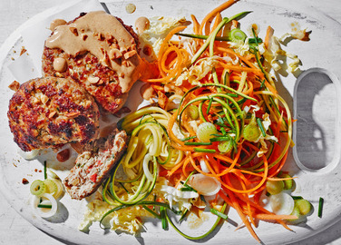 Image: Thai turkey patties with rainbow slaw