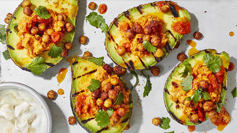 Image: Grilled avocado with hummus