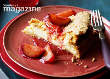 Plum and orange crumble cheesecake