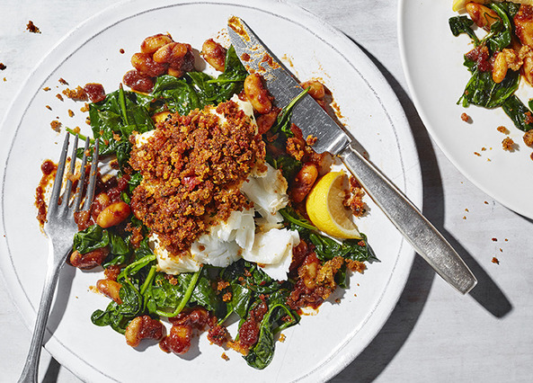 Image: Chorizo baked cod with sticky beans