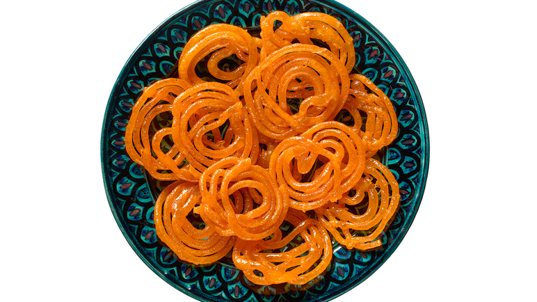 Image: Jalebi sweets in rose water syrup