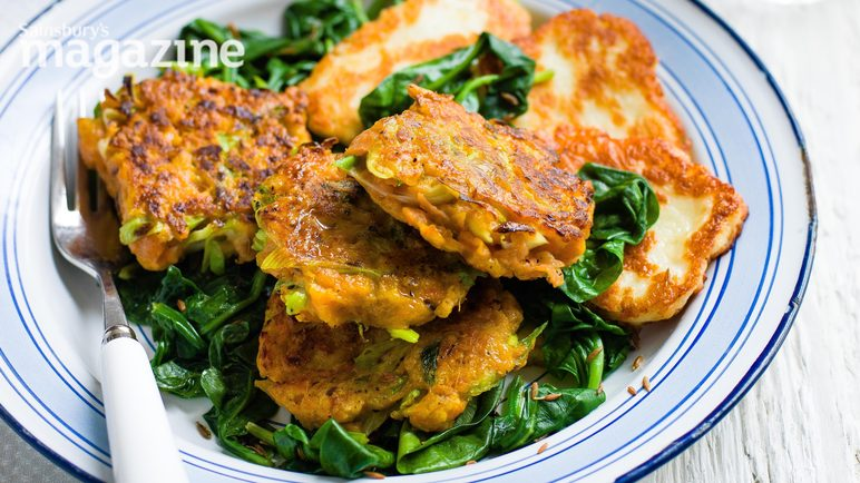 Image: Carrot fritters with halloumi and spinach
