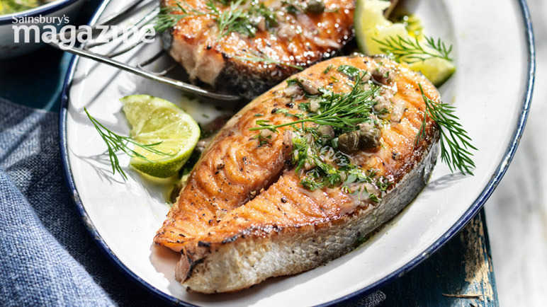 Salmon steaks with caper and anchovy salsa