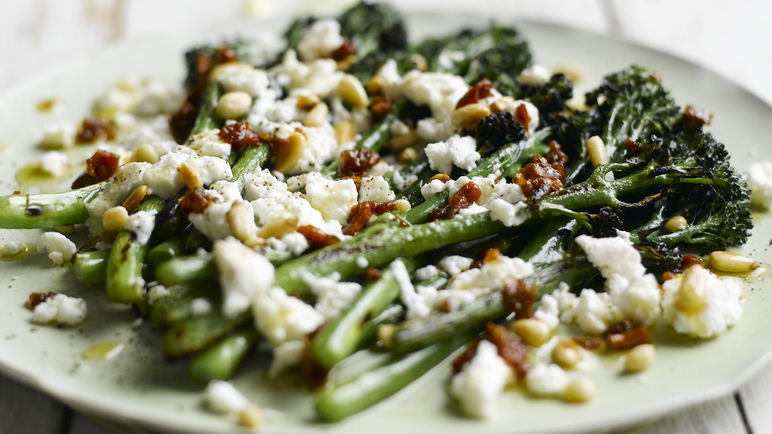 Image: Barbecued Tenderstem®, melted goats cheese and sun-dried tomato dressing