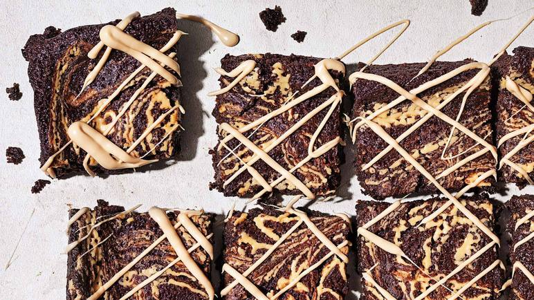 Image:  Gluten-free vegan chocolate brownies with a tahini swirl