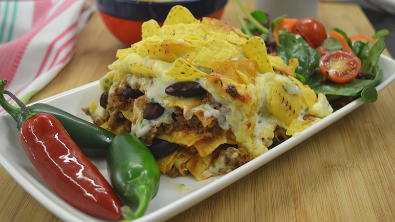 Image: Mexican chilli con carne lasagne with nacho topping