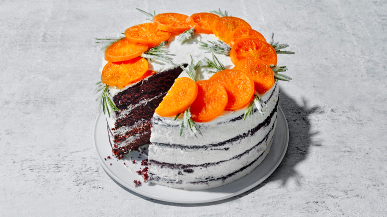 Image: Cacao and clementine layer cake