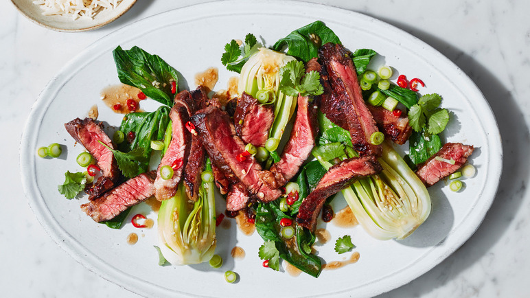 Image: Sticky tamarind steak with miso pak choi