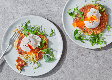 Image: Courgetti fritters with poached eggs