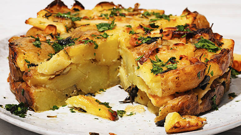 Image: Roast new potato and parsnip cake