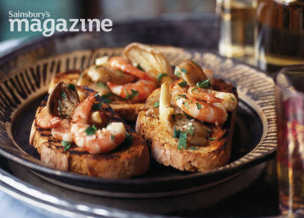 Oyster mushrooms and prawns on toast with fino sherry