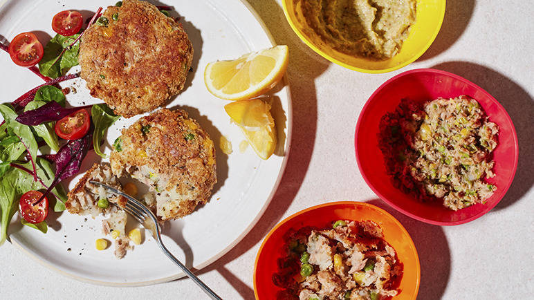 Image: Store cupboard tuna and sweetcorn fish cakes