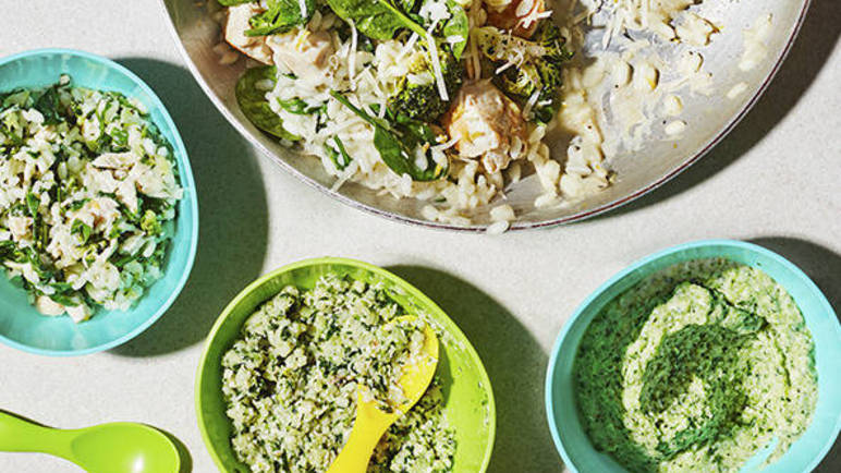 Image: One-pot chicken, broccoli and spinach risotto