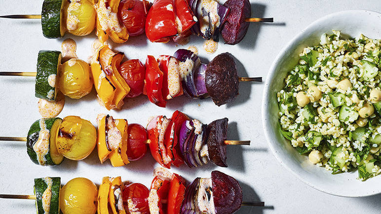 Image: Vegan rainbow vegetable kebabs