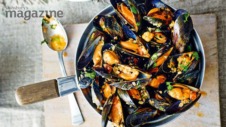 Mussels with chorizo, almonds and parsley