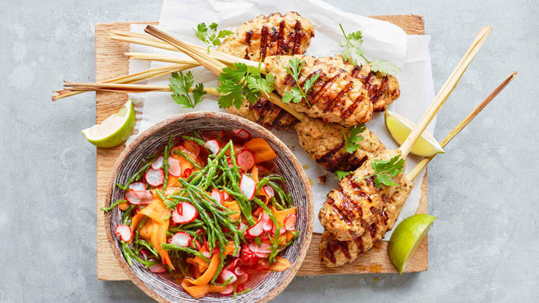 Recipe Lemongrass Chicken Skewers Sainsbury S