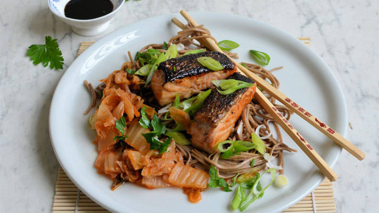 Image: Pan-Fried Salmon with Kimchi & Noodles