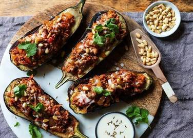 Image: Stuffed & griddled aubergines