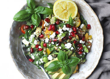 Image: Summer grain salad with homemade falafel