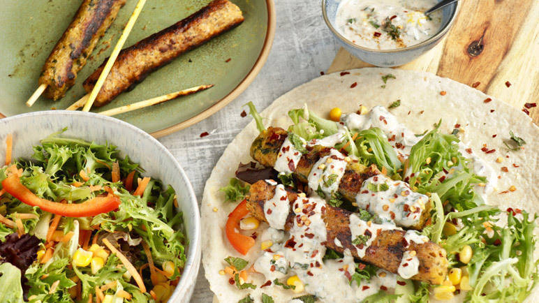 Image: Vegbabs kebabs, salad and mint yogurt