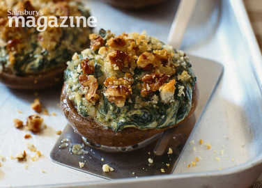 Herby stuffed field mushrooms