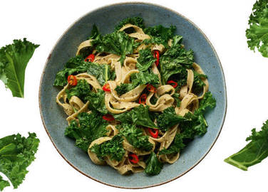 Image:  Wholemeal pasta with pistachio pesto and kale