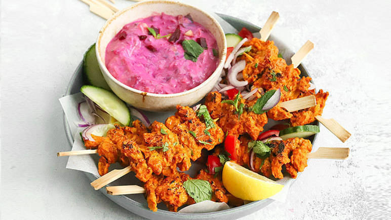 Image: Vegan no-chicken Tikka and beetroot raita
