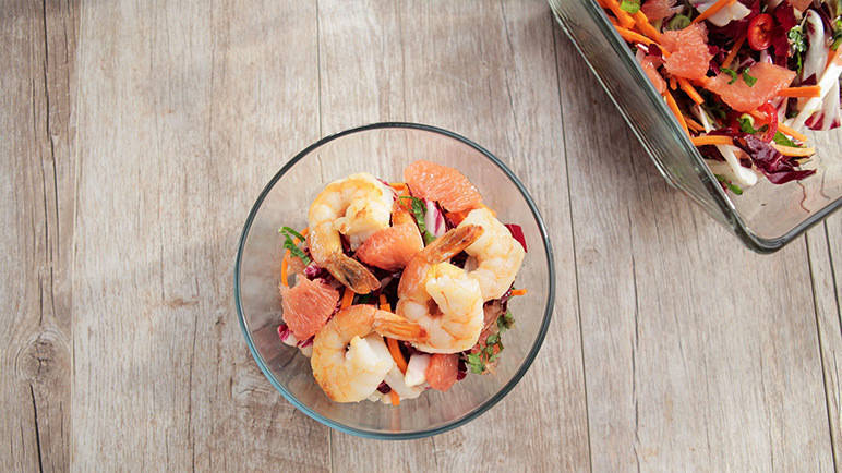 Image: Thai prawns and grapefruit salad with coconut rice